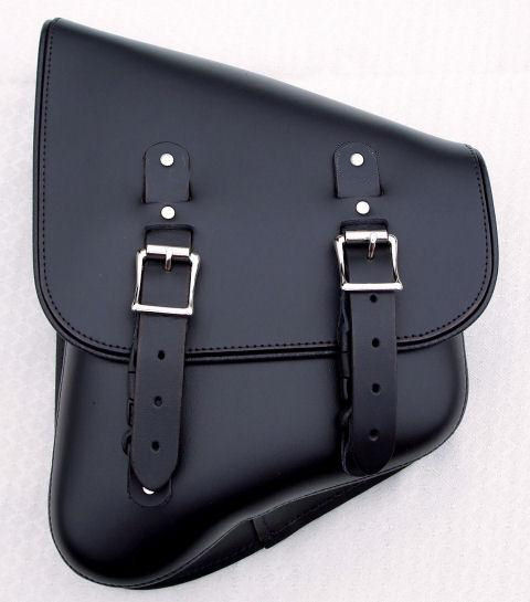 DeVille Stash Bag left side solo saddlebag in black leather.