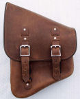 Stash Bag swingarm saddlebags from DeVille Cycles are avaiable in distressed brown or black.
