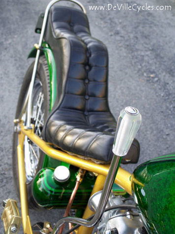 Over the top Ed Roth 60's style hand shifter on this 650 Triumph chop.