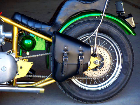 A DeVille Cycles solo saddlebag is a great way to add storage to your chopper or bobber.